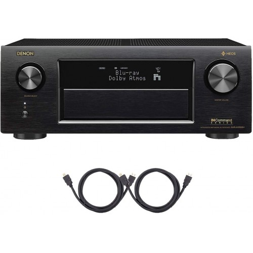 Denon AVRX4300H 9.2 Channel Full 4K Ultra HD AV Receiver with Built-in HEOS Wireless Technology Bluetooth/Wi-Fi and 2 HDMI Cables