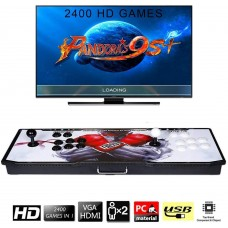 【2400 Games in 1】 Arcade Game Console Ultra Slim Metal Double Stick 2400 Classic Arcade Game Machine 2 Players Pandoras Box 6S 1280X720 Full HD Video Game Console for Computer & Projector & TV