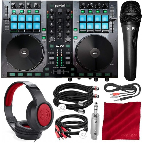 Gemini G2V Virtual DJ Controller and Mixer with Samson Over-Ear Headphones, Xpix Condenser Microphone, and Deluxe Accessory Bundle