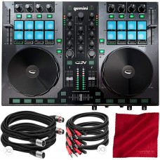 Gemini G2V Virtual DJ Controller and Mixer with Cables and Fibertique Cloth
