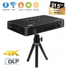 "Mini Projector, Salange P10 Pro 200 ANSI Lumens Portable Android DLP Video Projector 200"" Display with 4K Support WiFi Wireless BT4.1 Pico Projectors for Home Theater, Outdoor"