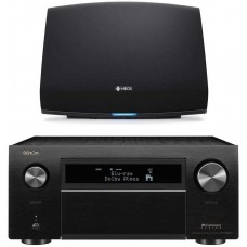 Denon AVR-X8500H 13.2 Channel Home Theater Receiver (Black) with HEOS 5 Wireless Streaming Speaker - Series 2 (Black)