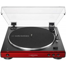 Audio-Technica AT-LP60XBT-RD Fully Automatic Belt-Drive Stereo Turntable, Red/Black