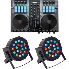 Gemini G2V 2-Channel USB/MIDI Virtual DJ Controller w/Mixer+(2) Wash Up-Lights
