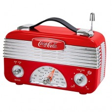 Coca-Cola CCR01 Retro Desktop Vintage Style AM FM Battery Operated Radio - Red Silver