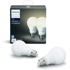 Philips Hue White 2-Pack A19 60W Equivalent Dimmable LED Smart Light Bulbs Compatible with Alexa Apple HomeKit and Google Assistant California Resident