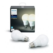 Philips Hue White 2-Pack A19 60W Equivalent Dimmable LED Smart Light Bulbs, Compatible with Alexa, Apple HomeKit, and Google Assistant, (California Residents) - Set of 2 Bulbs - 120 Volts compatible only