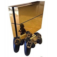 Gold Glossy Decal Skin Sticker for Playstation 4 PS4 Console+Controllers