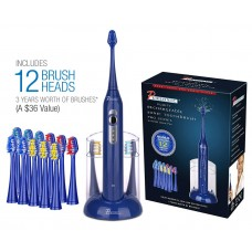Pursonic S420 High Power Rechargeable Sonic Toothbrush with 12 Brush Heads & Storage Charger Blue