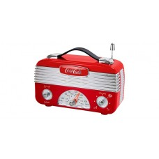 Coca-Cola CCR01 Retro Desktop Vintage Style AM/FM Battery Operated Radio - Red/Silver